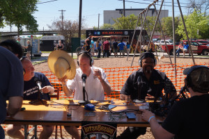 """Bev Blackwood from Southwest Brewing News, Brock Wagner from St Arnold and Mike """"Mufasa"""" Ferguson from Beer Geeks and BJ's"""
